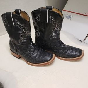 Herencia Black Leather Cowboy Boots Size 1 Unisex